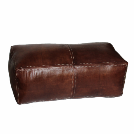 Moroccan Pouffe Pouf Ottoman  Double Seater Cover Brown Tan Real Leather Handmade Hand-stitched
